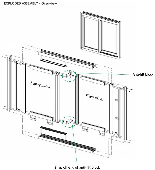 Sliding door - plastic cover fitting guide