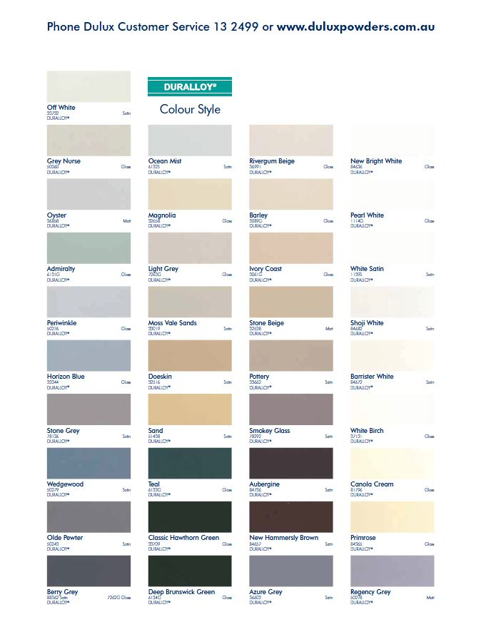 nice coat colour chart image: Powder coat colours nuline windows
